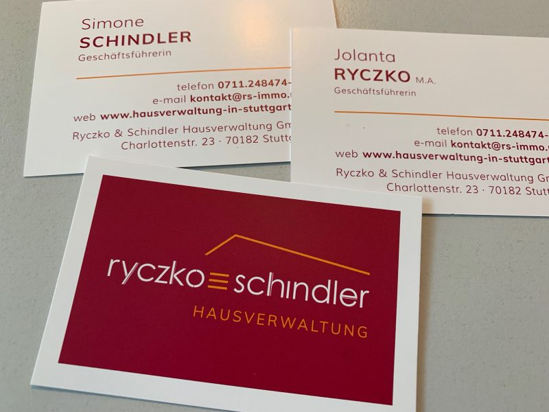 Visitenkarten der Ryczko & Schin der Hausverwaltung GmbH