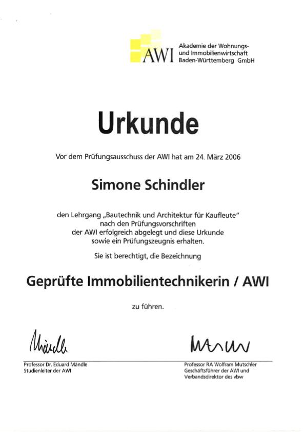 Urkunde Schindler Immobilientechnikerin