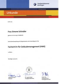 Urkunde Schindler Fachwirtin